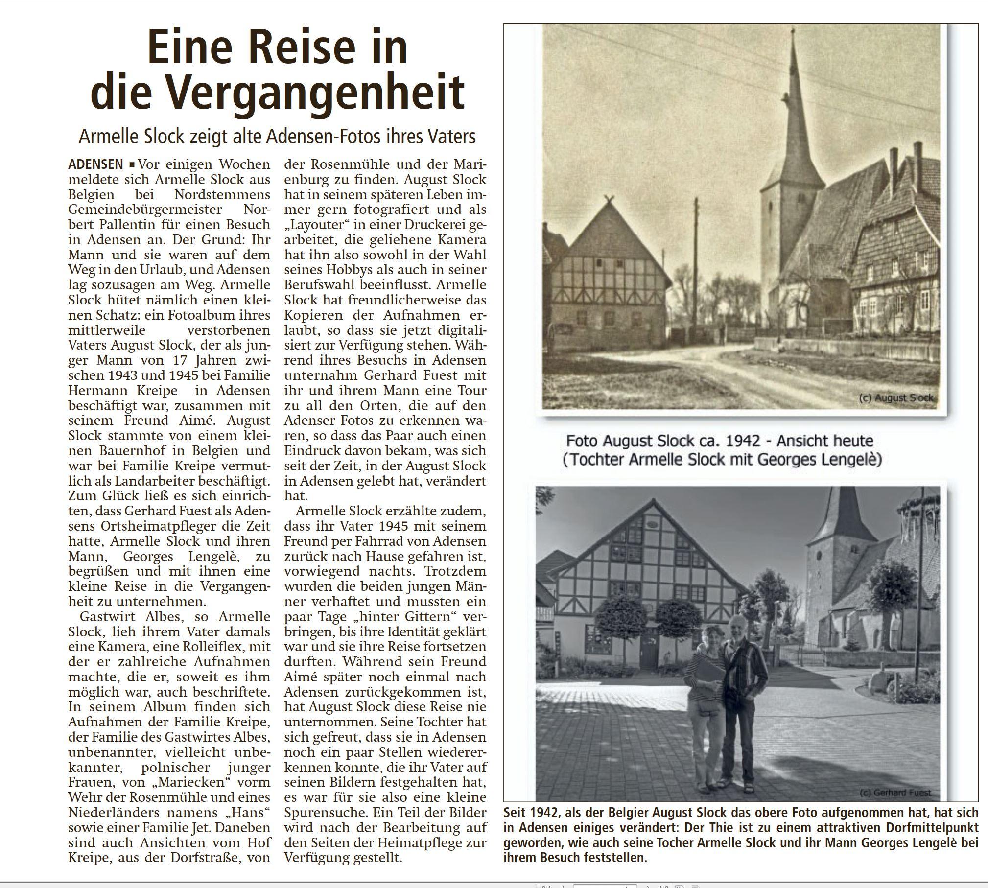Bericht der LDZ Leine Deister Zeitung über Frau Slock in Adensen