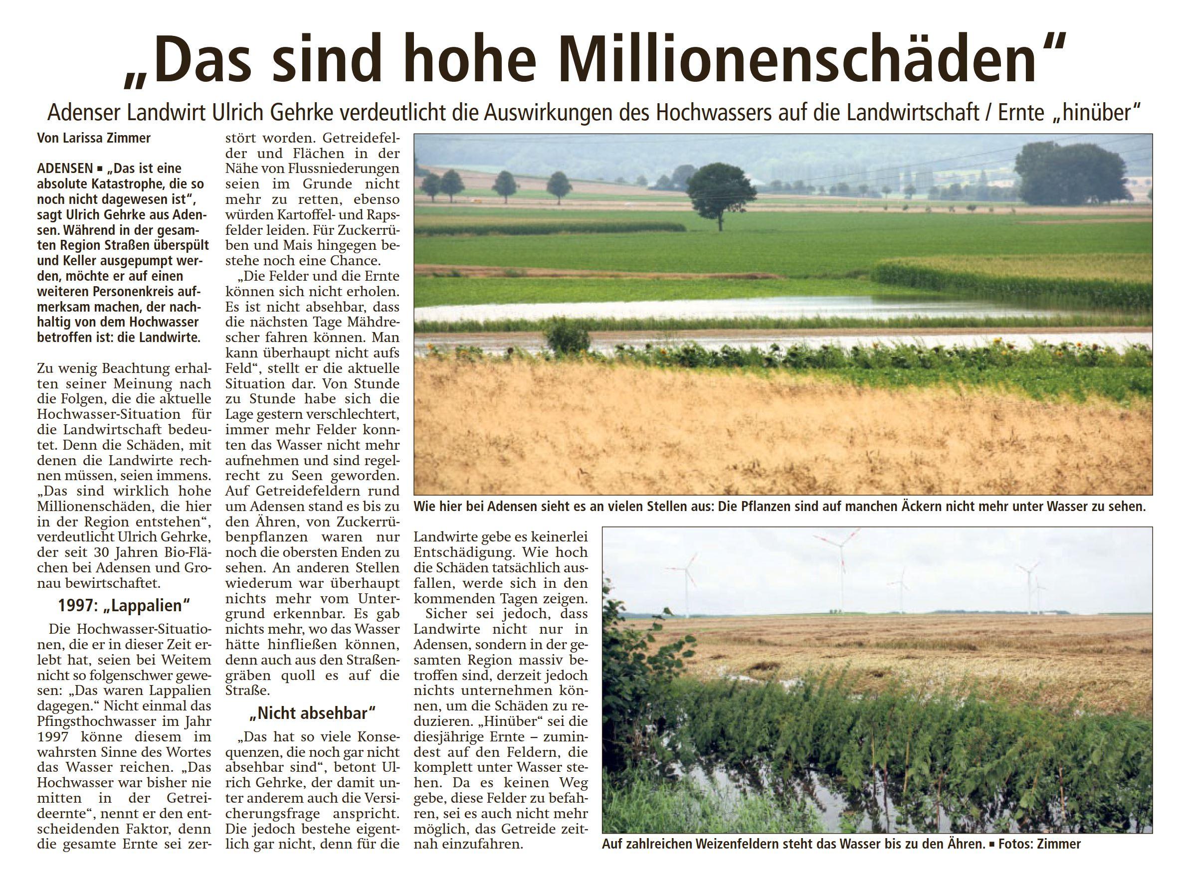 Adensener Landwirt Ulrich Gehrke: Hohe Schäden in der Landwirtschaft durch das Hochwasser